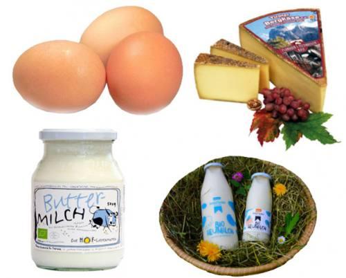 Eier und Milchprodukte